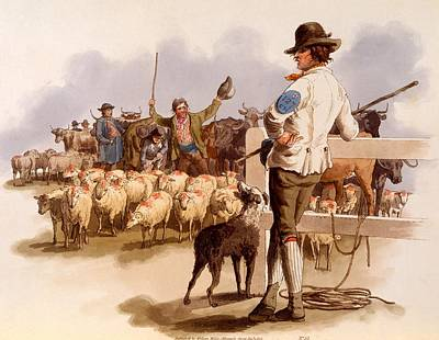 Cow Drawing - Smithfield Drover, From The Costumes by William Henry Pyne