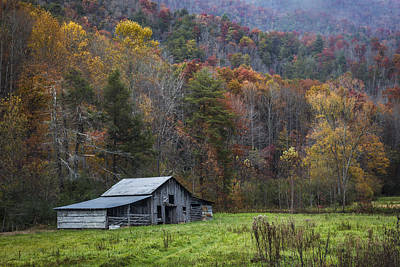 Smoky Mountain Barn Print by Debra and Dave Vanderlaan