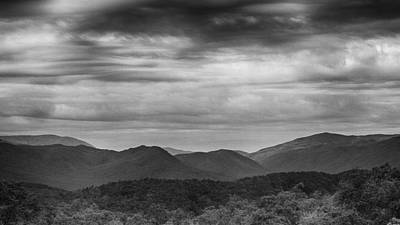 Smoky Mountains In Bw Print by Stephen Stookey