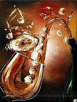 Women Tasting Wine Painting - Smooth And Saxy Wine Art Painting by Leanne Laine