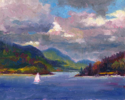 Abstract Realism Painting - Smooth Sailing Sailboat On Alaska Inside Passage by Talya Johnson