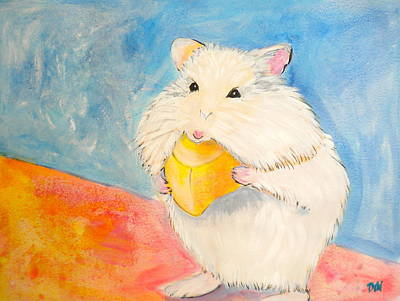 Gerbil Painting - Snack Time by Debi Starr