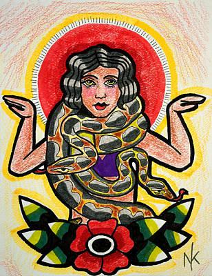 Freak Show Drawing - Snake Charmer by Nicole Kaspereen