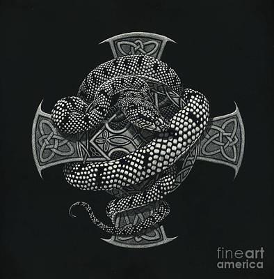 Snake Cross Original by Stanley Morrison