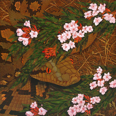 Snake In The Flowers Original by Ken Church