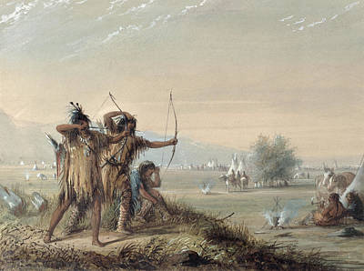 Native American Watercolor Painting - Snake Indians Testing Bows by Alfred Jacob Miller