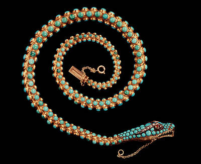 Snake Necklace, 1844 Gold With Pave-set Diamonds, Garnets And Turquoises Print by English School