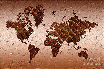 Burmese Python Digital Art - Snake Skin World Map by Zaira Dzhaubaeva