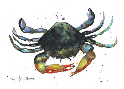 Sealife Art Painting - Snappy Crab by Alison Fennell