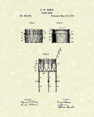 Drum Drawing - Snare Drum 1886 Patent Art by Prior Art Design