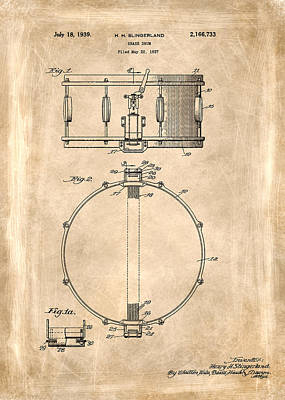 Music Photograph - Snare Drum Patent 1939 by Mark Rogan