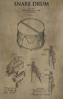 Drum Digital Art - Snare Drum Patent by Dan Sproul