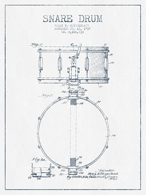 Snare Drum Patent Drawing From 1939 - Blue Ink Print by Aged Pixel