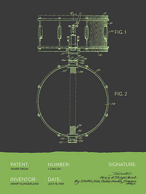 Drum Digital Art - Snare Drum Patent From 1939 - Gray Green by Aged Pixel