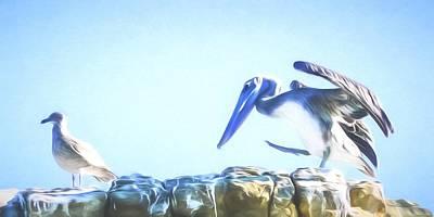Horizontal Mixed Media - Sneaky Pelican Art by Priya Ghose