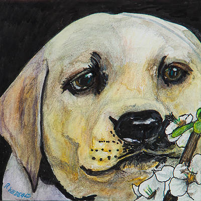 Puppy Mixed Media - Sniff The Flowers by Roger Wedegis