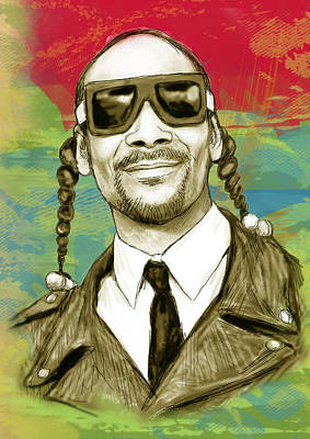 20 Drawing - Snoop Dogg Art Sketch Poster by Kim Wang