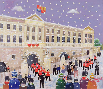 Police Christmas Card Painting - Snow At Buckingham Palace by William Cooper