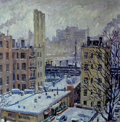 Urban Subway Painting - Snow At Dusk New York City by Thor Wickstrom