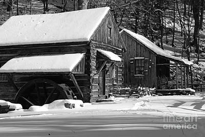 Mill In Woods Photograph - Snow Bound In Black And White by Paul Ward