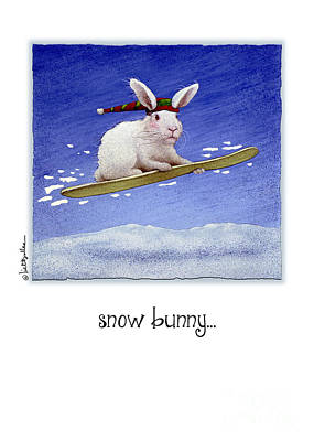 Snowboarding Painting - Snow Bunny...  by Will Bullas