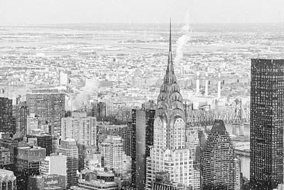 New York City Rooftop Photograph - Snow - Chrysler Building And New York City Skyline by Vivienne Gucwa