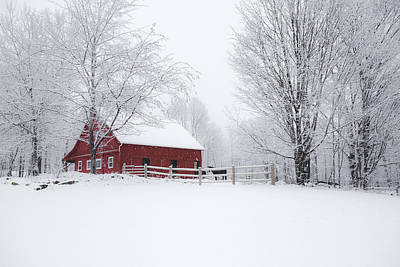 Red Barn In Winter Photograph - Snow Country by Robert Clifford