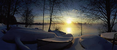 Bare Trees Photograph - Snow Covered Boats At The Riverside by Panoramic Images