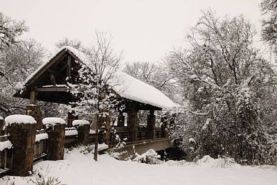 Snow Covered Bridge Print by Robert Frederick
