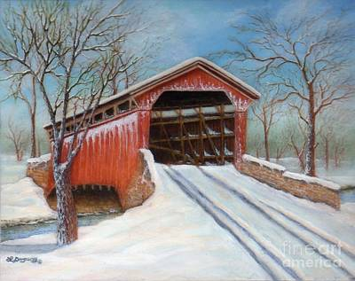 Snowscape Painting - Snow Covered Bridge by Lora Duguay