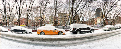 Lower East Side Photograph - Snow Covered Cars Parked On The Street by Panoramic Images