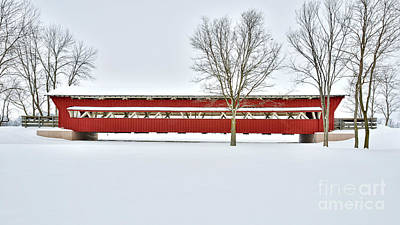 Snow Covered Covered Bridge Print by Brian Mollenkopf