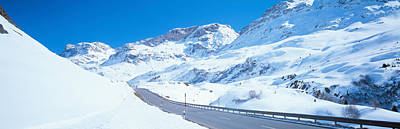 Snow Covered Mountains On Both Sides Print by Panoramic Images