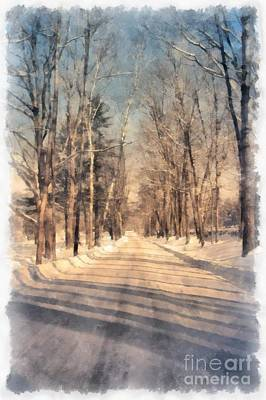 Snow Covered New England Road Print by Edward Fielding