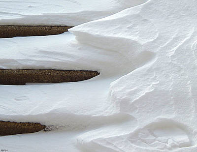 Snow Covered Steps Print by Phil Perkins