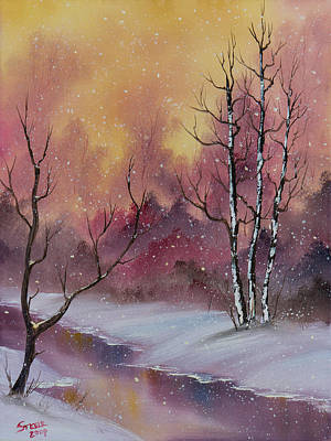 Sawtooth Mountain Art Painting - Winter Enchantment by C Steele