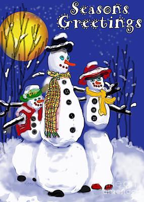 Moon Digital Art - Snow Family Seasons Greetings by Carol Jacobs