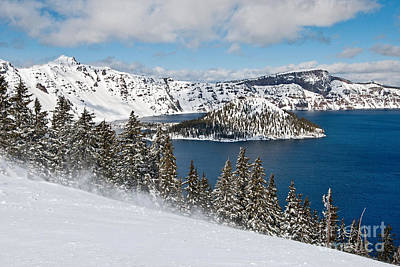 Flurries Photograph - Snow Flurry - Crater Lake Covered In Snow In The Winter. by Jamie Pham
