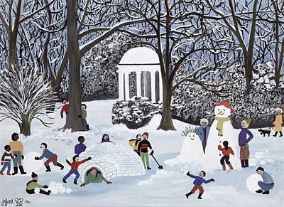 Igloo Painting - Snow Follies by Judy Joel