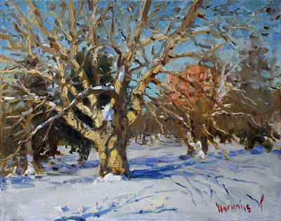 Fall Painting - Snow In Goat Island Park  by Ylli Haruni