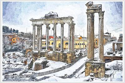 Snow In Rome Print by Stefano Senise
