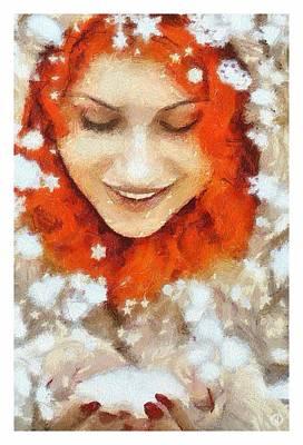 Woman Digital Art - Snow Joy by Gun Legler