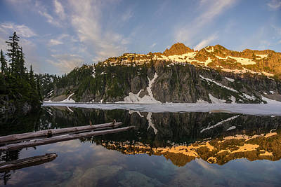 Snow Lake Morning Reflection Print by Mike Reid