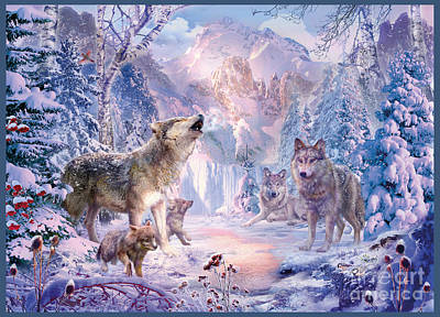 Wolf Digital Art - Snow Landscape Wolves by Jan Patrik Krasny