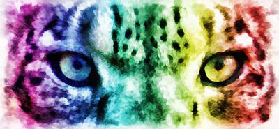 Leopard Mixed Media - Snow Leopard Eyes 2 by Angelina Vick
