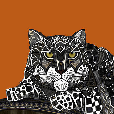 Leopard Drawing - Snow Leopard Orange by Sharon Turner