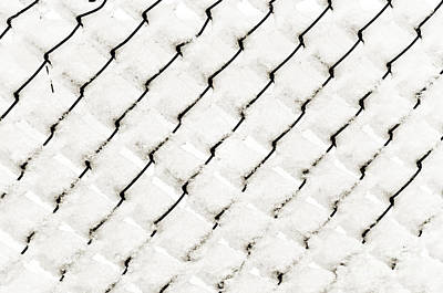 Snow Link Fence Print by Andee Design