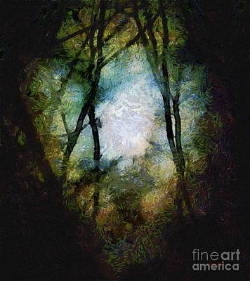 Snow Moon Embrace Print by RC deWinter