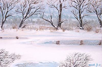Snow On The Ema River  Print by Misuk Jenkins