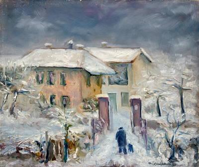 Italy Farmhouse Painting - Snow On The Farmhouse by Mario Zampedroni